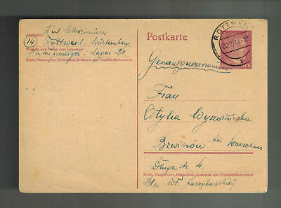 1944 Rottweil Germany Arbeitslager Slave Labor Camp Postcard Cover to Poland