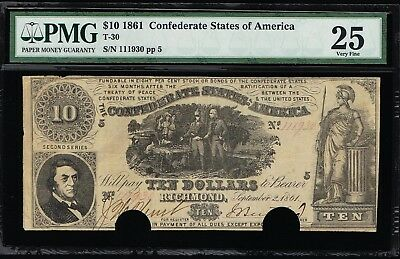 Affordable Genuine Csa T-30 1861 Confederate $10 Note Pmg Very Fine 20 Pp-5