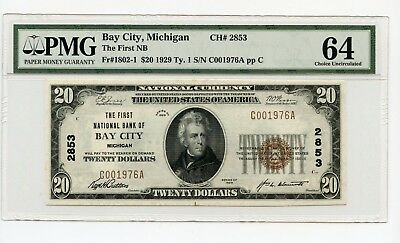 1929 Ty. 1 First National Bank $20 Bay City Michigan National Note CH UNC 64 PMG