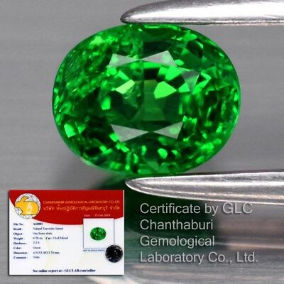 0.78ct 5.4x4.5mm Oval Natural Green Tsavorite Garnet, Tanzania *GLC Certified