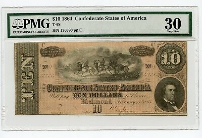 1864 $10 Confederate States of America Note (T-68) VF 30 PMG.