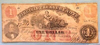 1862 $1 One Dollar Virginia Note Civil War CSA Nice