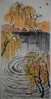 Unique Large Chinese Painting Signed Master Wu Guanzhong No Reserve K7997