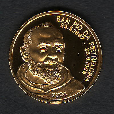 Mariana Islands. 2004 Gold 5 Dollars..  San Pio..  1.224gms  .9999 gold.. Proof