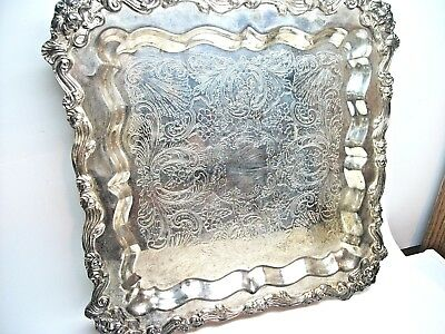 """ANTIQUE SHERIDAN SILVER PLATE FOOTED BUTLERS SERVING TRAY VERY ORNATE 16"""" Sq."""