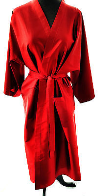 "Red 100% Silk Robe 41"" long , 40"" Chest, Kimono Wrap, belt, new, handmade"