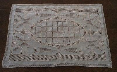 Vintage Set 2 Italian Embroidered Placemats Drawn Thread Tray Doily