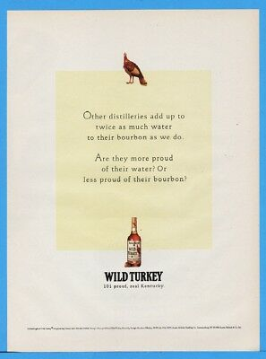 1994 Wild Turkey Whiskey 101 Proof Real Kentucky Water VS Bourbon Print Ad