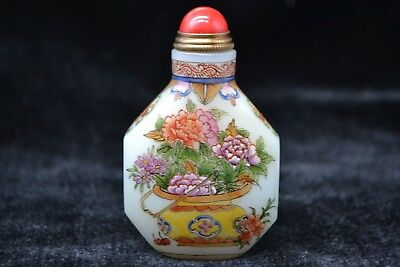 chinese handwork Vintage coloured glaze PAINTING flower basket rare Snuff Bottle