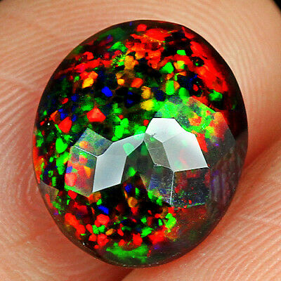 2.05CT Natural Ethiopian Black Opal Faceted Cut Play Of Color QOP3489