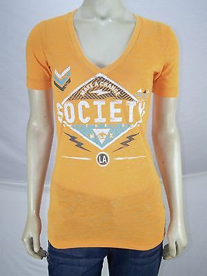 8ac34e71a66 Society Orange Blue LA Short Sleeve V-Neck T-Shirt Juniors Size Small 3