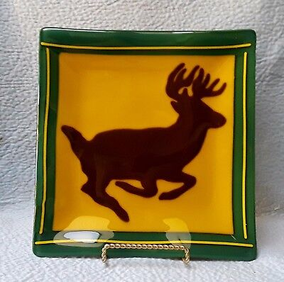 "Faux John Deere?? Green & Yellow Square Glass Plate Tray 3 Legged Deer 9.5""x10""*"