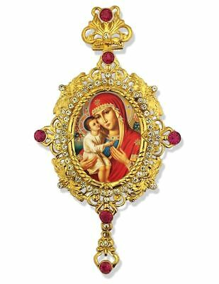 Madonna and Child Christ Jesus Russian Icon Pendant With Crown Chain NEW!!!!!!!