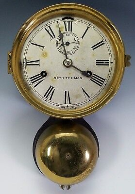 ANTIQUE 19th -20th C. SETH THOMAS EXTERIOR BELL CHIME BRASS SHIPS BELL CLOCK