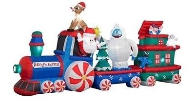 16 gemmy rudolph express train animated lighted christmas airblown inflatable