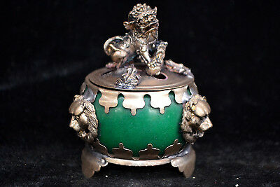 Collectible chinese Old Tibet Silver kylin green jade handwork Incense Burner