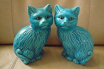 "PAIR OF VINTAGE TURQUOISE  CERAMIC CHINESE/ORIENTAL CATS ~ 6 1/2"" high"