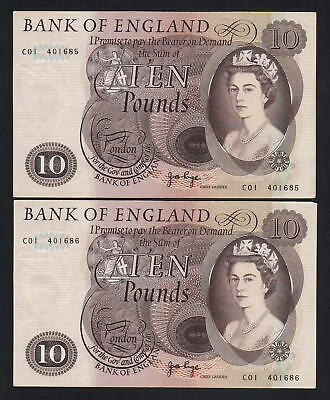 GREAT BRITAIN P-376c. (1970-75) 10 Pounds. Page. gVF - Crisp.. CONSECUTIVE Pair