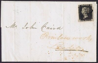 1840 1d Black Plate 5 TJ Fine Used Kirkcaldy with '4' to Leslie Cat £750.00