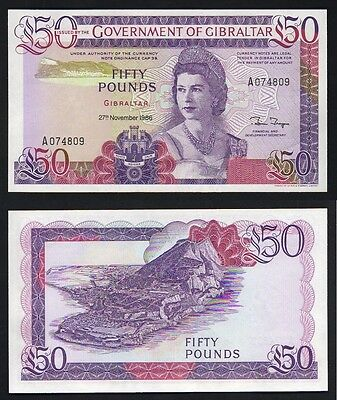 GIBRALTAR  P-24. 1986 50 Pounds..  UNC