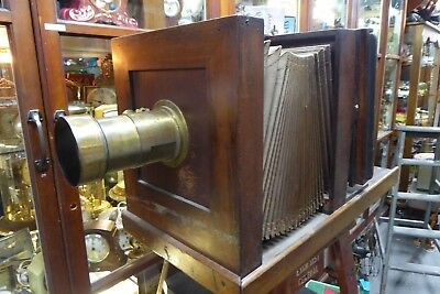 HUGE 1800s ANTIQUE CEDAR BELLOWS PLATE CAMERA MADE BY S.J.LEVY FARRINGTON ROAD
