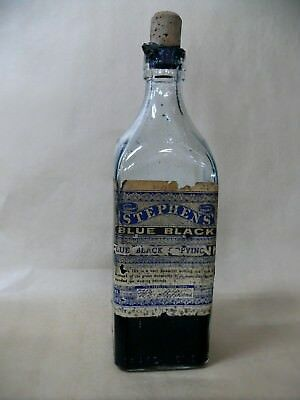 Antique Stephens Ink Bottle Great Label 20 Oz Sydney Australia Fountain Pen