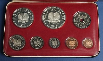 Papua New Guinea: 1975 Proof Set, 1.75oz Silver With Bird of Paradise K10. Cased