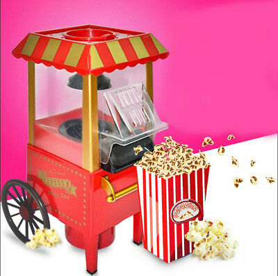 Red MINI Metal Full Automatic Non Stick Pan Household Children Popcorn Machine