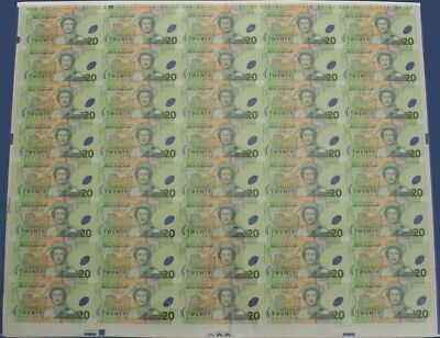New Zealand: 1999 Polymer $20 Brash RARE UNCUT SHEET of 40. Only 150 ISSUED!