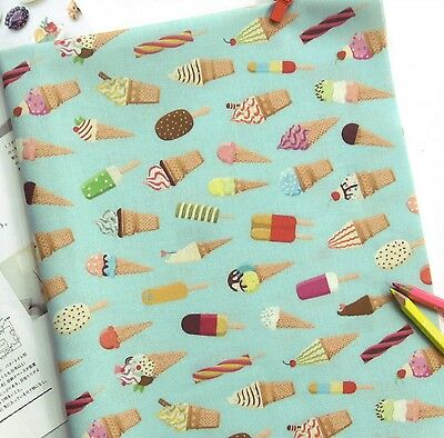ICE CREAM DREAMS FABRIC BY METRE 100/% COTTON MATERIAL ICE LOLLY LOLLIPOP GIFT