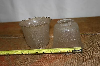2 Victorian Antique Sandwich Glass Gas Electric Lamp Shade Globe 2-1/4 Fitter