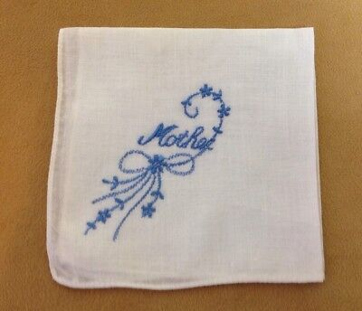Vintage Ladies Hanky, Handkerchief, White With Embroidered Mother & Flowers