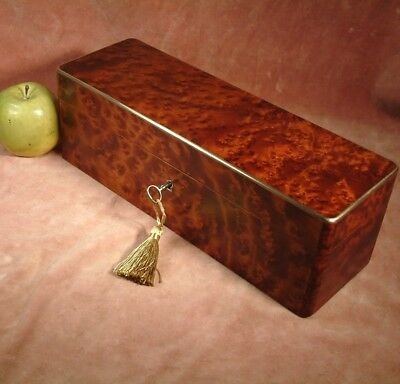 ANTIQUE BURL THUYA WOOD BRASS EDGED JEWELLERY / GLOVES BOX c1880 very handsome
