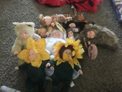 ANNE GEDDES BABY DOLLS LOT Of 9 9IN