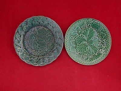 "(2) 19Th Century Green Glazed ""majolica"" Plates Basket Weave Borders & Leafs."