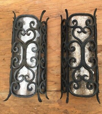 Pair 2 Spanish Mediterranean Metal Wall Light Sconces Mica Vintage Regency