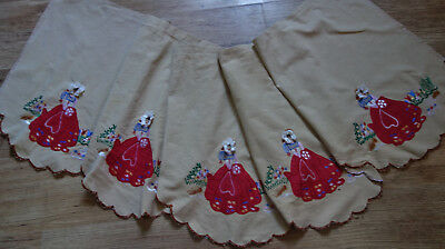 vintage embroidered crinoline lady pelmet /cafe currain 88x20 inches