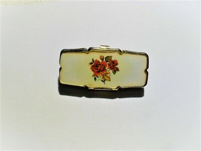 Vintage Jewelry Box Or Pill Box All Original With Rose Top Vintage Japan Nr Wow!
