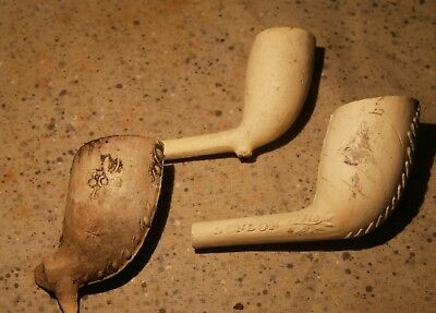 ROYAL NAVY DOCK YARD BERMUDA - Dive Recovered Decorated Clay Pipes - Two Marked