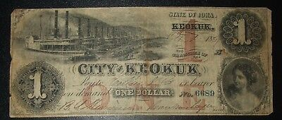 City of Keokuk Iowa Obsolete One Dollar Note * Issued Oct. 1st 1857 * No. 6689
