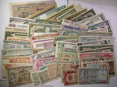 65+ all different World Banknotes currency paper money