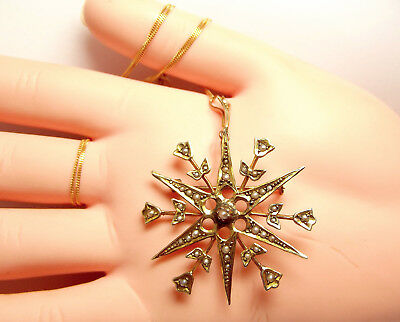 """Victorian 9ct Gold & Seed Pearl TULIP Starburst Pendant/Brooch 18"""" Chain"""