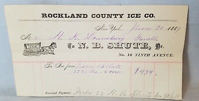 1887 N.B. Shute Of Rockland County Ice Co New York Billhead Receipt NO Res