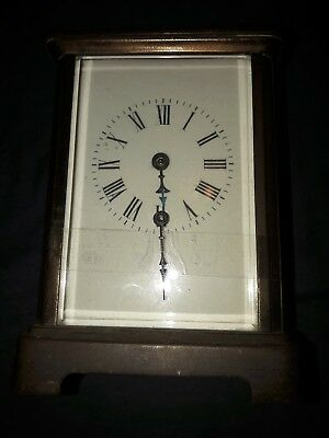 Antique French 8 Day Brass Carriage Clock.