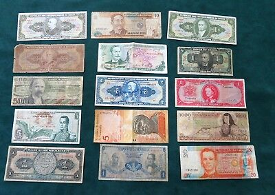 (15) lot of South American Paper money mixed condition