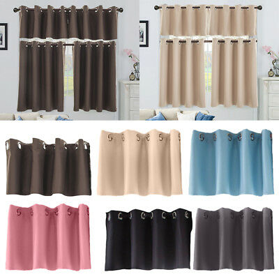 Solid Blackout Cafe Tiers Valance Half-curtain for Home Kitchen Window Decor