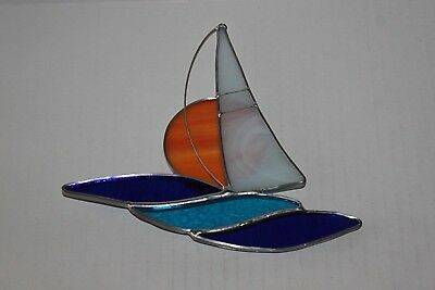 Beautiful Sailboat At Sunset Stained Glass Sun Catcher