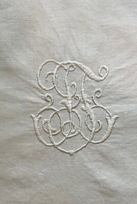 Antique Vintage PAIR Monogram embroidered Pillow Euro Sham White Cotton