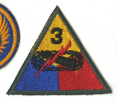 Cut Edge 3Rd Armored Division White Back Patch Forest Green Border