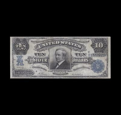 Extremely Rare 1908 $10 Silver Certificate Tombstone Strong Very Fine